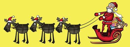 Weihnachtskarikatur-Weihnachtsmann-Pferdeschlitten mit Ren Lizenzfreie Stockfotografie