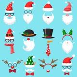 Weihnachtskarikaturhüte Hut Weihnachten Sankt, Elfenkappe und Renfotomaske Sankt-Bart und Schnurrbartvektorsatz lizenzfreie abbildung