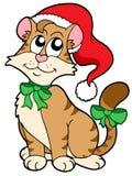 Weihnachtskarikaturkatze Stockbild