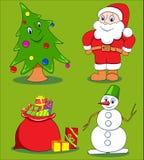 Weihnachtskarikaturset. Stockfoto