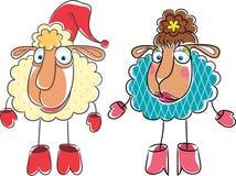 Weihnachtskarikaturzeichnungs-RAM und -schafe Lizenzfreie Stockfotografie