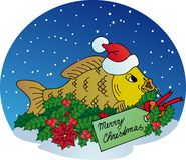 Weihnachtskarpfen auf Schneehintergrund Stockfotografie