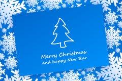 Weihnachtskarte auf Hintergrund mit Schneeflocken Lizenzfreies Stockfoto