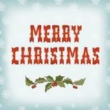 Weihnachtskarte auf Schneemuster Stockbilder