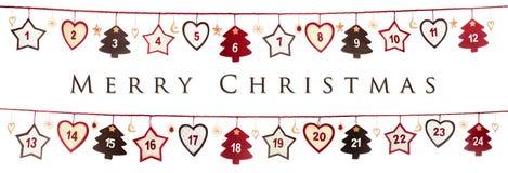 Weihnachtskarte auf weißem Hintergrund Stockbild