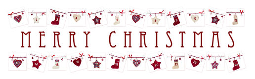 Weihnachtskarte - Aufkommenkalender Stockbild