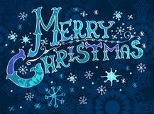 Weihnachtskarte, Beschriftung der frohen Weihnachten Stockfoto