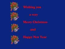 Weihnachtskarte in der blauen Abbildung Stockfotografie