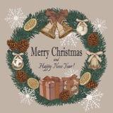 Weihnachtskarte in der Weinleseart Stockbilder