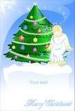 Weihnachtskarte des Engels und der grünen Kiefer. lizenzfreie abbildung