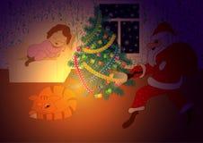 Weihnachtskarte, Elemente für Dekoration von festlichen Geschenken, Stockfotografie
