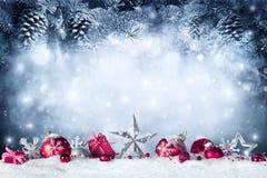 Weihnachtskarte - Flitter und Tannenzweig Stockbilder