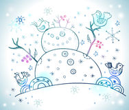 Weihnachtskarte für Weihnachtsdesign mit Schneemann Stockbilder