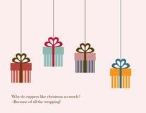 Weihnachtskarte: Geschenke Stockfotos