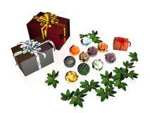 Weihnachtskarte, -geschenke und -kugeln. Lizenzfreies Stockfoto