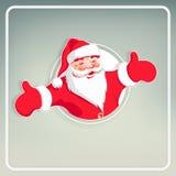 Weihnachtskarte hellgrün mit einem weißen Rahmen mit Schattenbild von Santa Claus stock abbildung