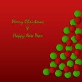 Weihnachtskarte mit abstraktem Baum auf rotem Hintergrund Stockfotografie