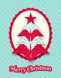 Weihnachtskarte mit abstraktem Origamibaum Stockbilder