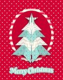 Weihnachtskarte mit abstraktem Origamibaum Lizenzfreie Stockfotos