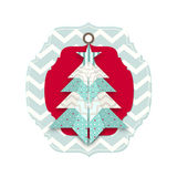 Weihnachtskarte mit abstraktem Origamibaum Stockbild