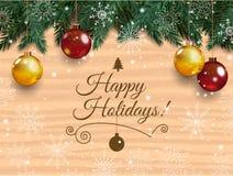 Weihnachtskarte mit ausführlichen Kiefernzweigen Lizenzfreie Stockfotos