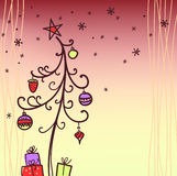 Weihnachtskarte mit Baum Lizenzfreies Stockbild