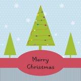 Weihnachtskarte mit Baum Stockfotos
