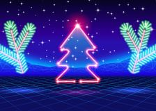 Weihnachtskarte mit Baum des Neons 80s Lizenzfreie Stockfotografie