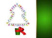 Weihnachtskarte mit Baum im Potenziometer Lizenzfreies Stockbild
