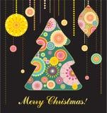 Weihnachtskarte mit Baum und Spielwaren Stockbild