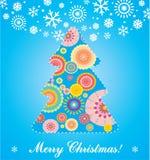 Weihnachtskarte mit Baum und Spielwaren Stockfotos