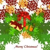 Weihnachtskarte mit Blättern stock abbildung
