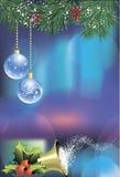 Weihnachtskarte mit blauen Bällen Stockfoto