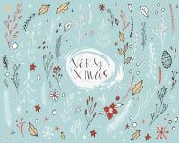 Weihnachtskarte mit Blumenelementen Stockbilder