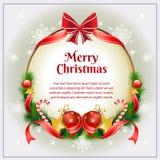 Weihnachtskarte mit Bogen Stockfotografie