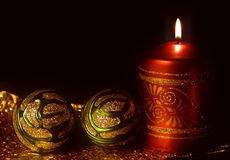 Weihnachtskarte mit brennenden Kerzen Stockfoto