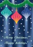 Weihnachtskarte mit China-Laterne Lizenzfreie Stockfotografie