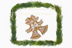 Weihnachtskarte mit Dekoration Stockbilder