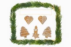 Weihnachtskarte mit Dekoration Stockfotografie