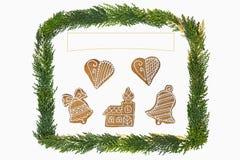 Weihnachtskarte mit Dekoration Lizenzfreies Stockfoto