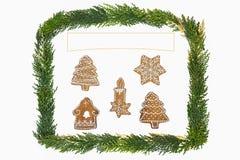 Weihnachtskarte mit Dekoration Stockfotos