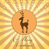 Weihnachtskarte mit dem Bild eines Rotwilds Lizenzfreie Stockfotos