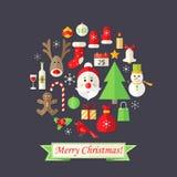Weihnachtskarte mit den flachen Ikonen eingestellt und Santa Claus Dark Blue Stockfotos
