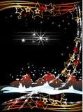 Weihnachtskarte mit der alten Stadt Stockfotos