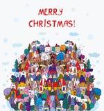 Weihnachtskarte mit Dorf, Bäumen und Schnee, nettes Design lizenzfreie abbildung