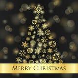 Weihnachtskarte mit dunklem Hintergrund und goldenem sno Lizenzfreies Stockfoto