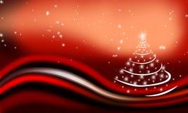 Weihnachtskarte mit einem Baum Stockbilder