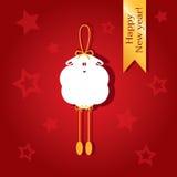 Weihnachtskarte mit einem Bild von Schafen Stockbilder