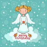 Weihnachtskarte mit einem Engel lizenzfreie abbildung