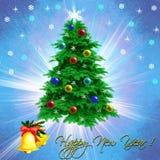 Weihnachtskarte mit einem gekleideten oben Weihnachtsbaum stock abbildung